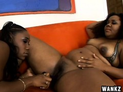 Lesbo hos with big chubby curves make each other's clam wet