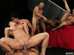 Busty bitches get their fine ass bodies pounded by two lucky dudes