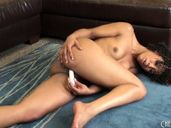 Graceful, curly bitch Misty Stone pokes dildo in her chocolate kitty