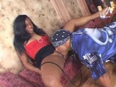 Perky ebony beauty enjoys riding her paramour