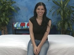 Latin chick girl in jeans Rebecca