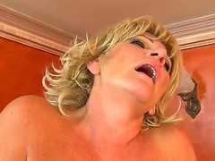 Blonde Sally G. spends her sexual energy with hard cocked dude